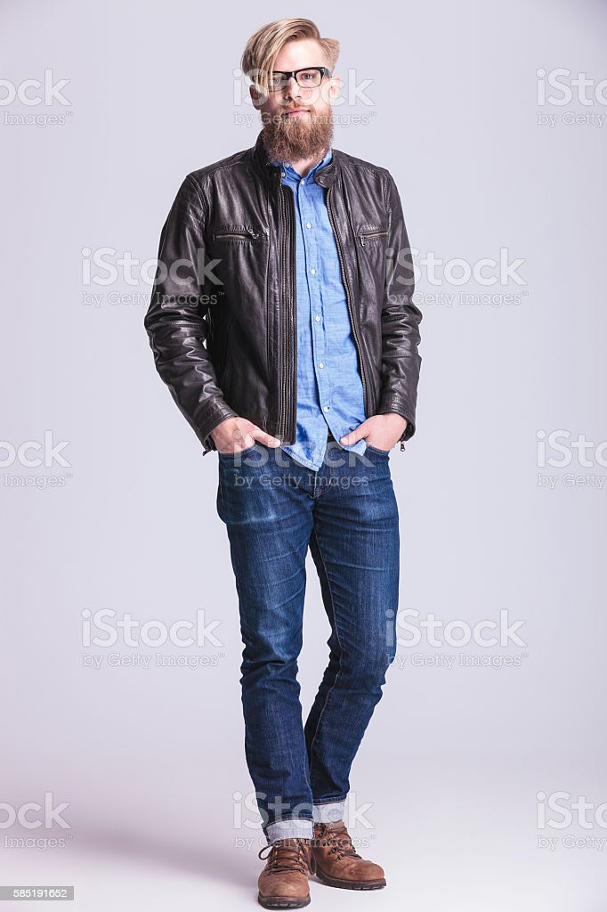 Full body picture of a young hipster man stock photo