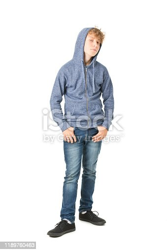 teenager boy standing isolated on white. Full length picture