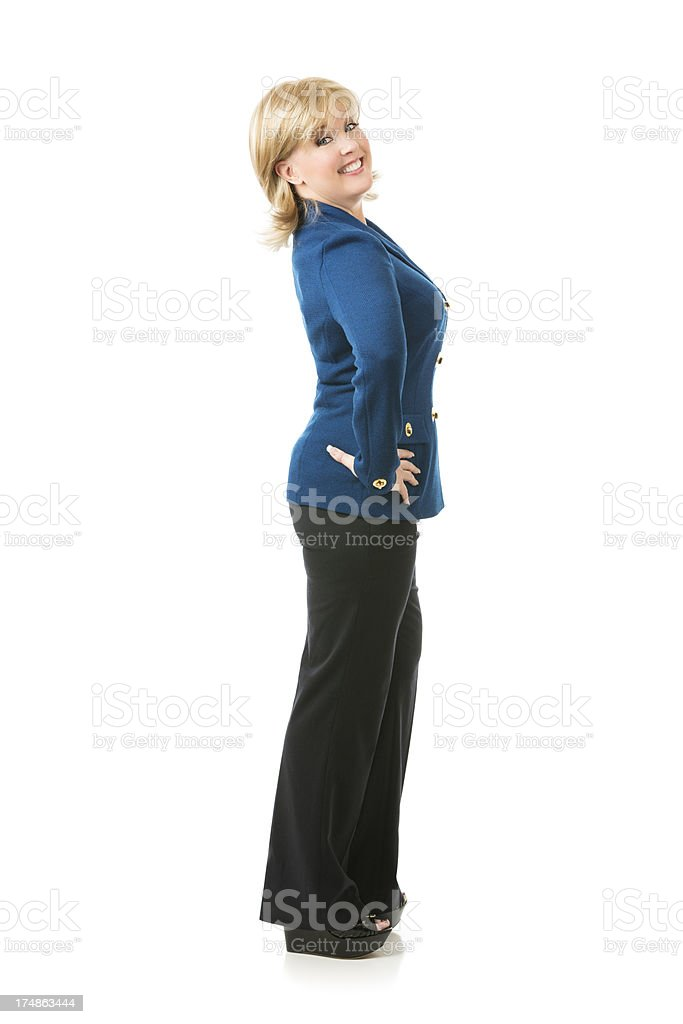 Full body portrait of a blond businesswoman on white royalty-free stock photo