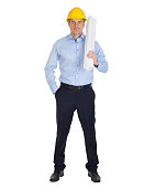 istock Full body portrait of architect holding blueprints. 1141290640