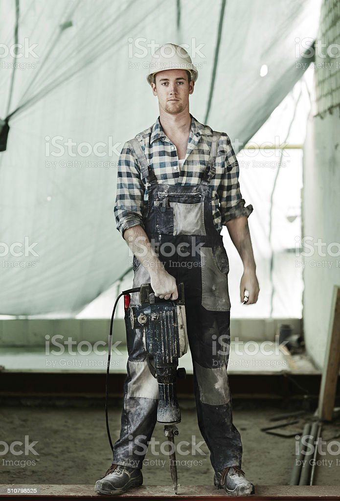Full Body Portrait of Construction Worker stock photo
