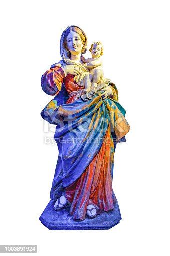 Full body front view virgin mary and boy wood sculpture isolated on white background