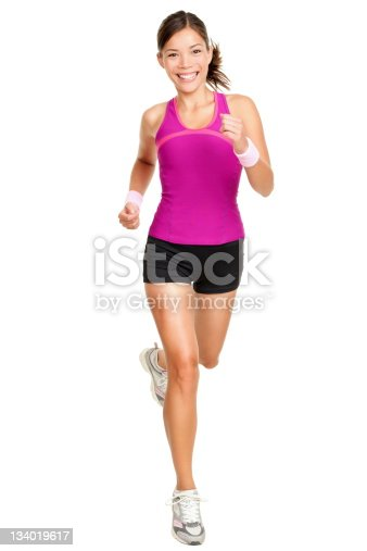 istock Full body shot of female runner isolated on white 134019617