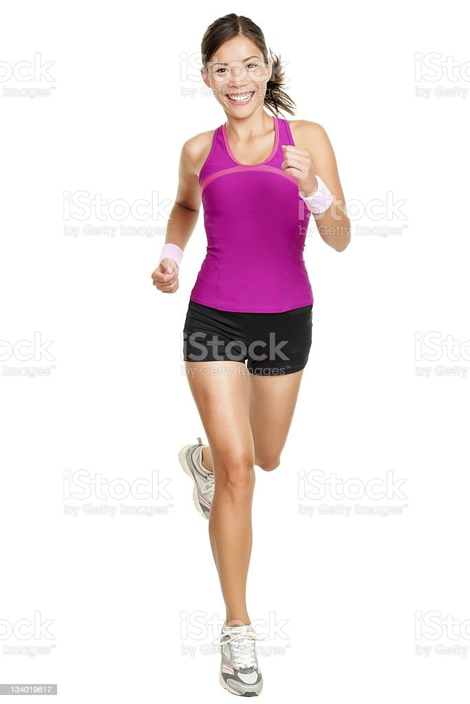 Full body shot of female runner isolated on white stock photo