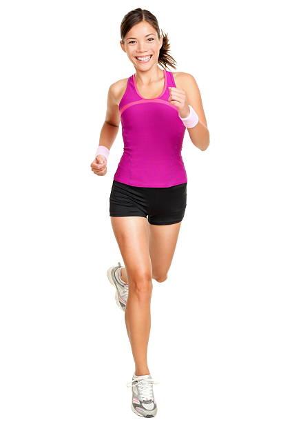 Foto de cuerpo entero de mujer corredor aislada sobre blanco - foto de stock