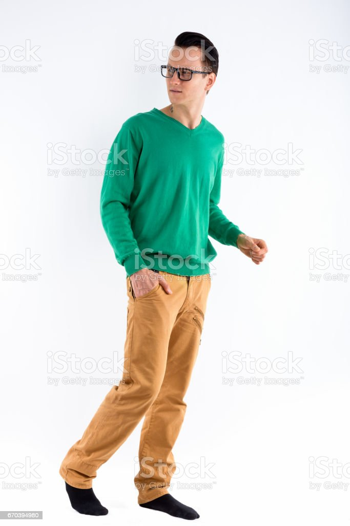 5ab202d61e80e Full Body Shot Of Young Handsome Man Thinking And Looking Back While ...