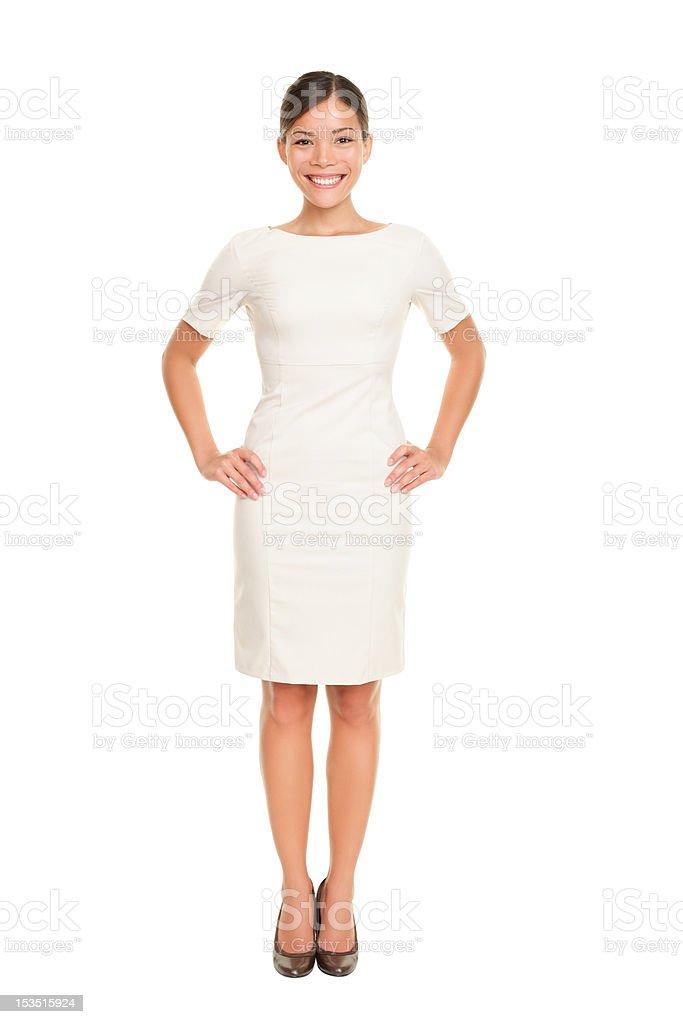 Full body woman portrait standing stock photo