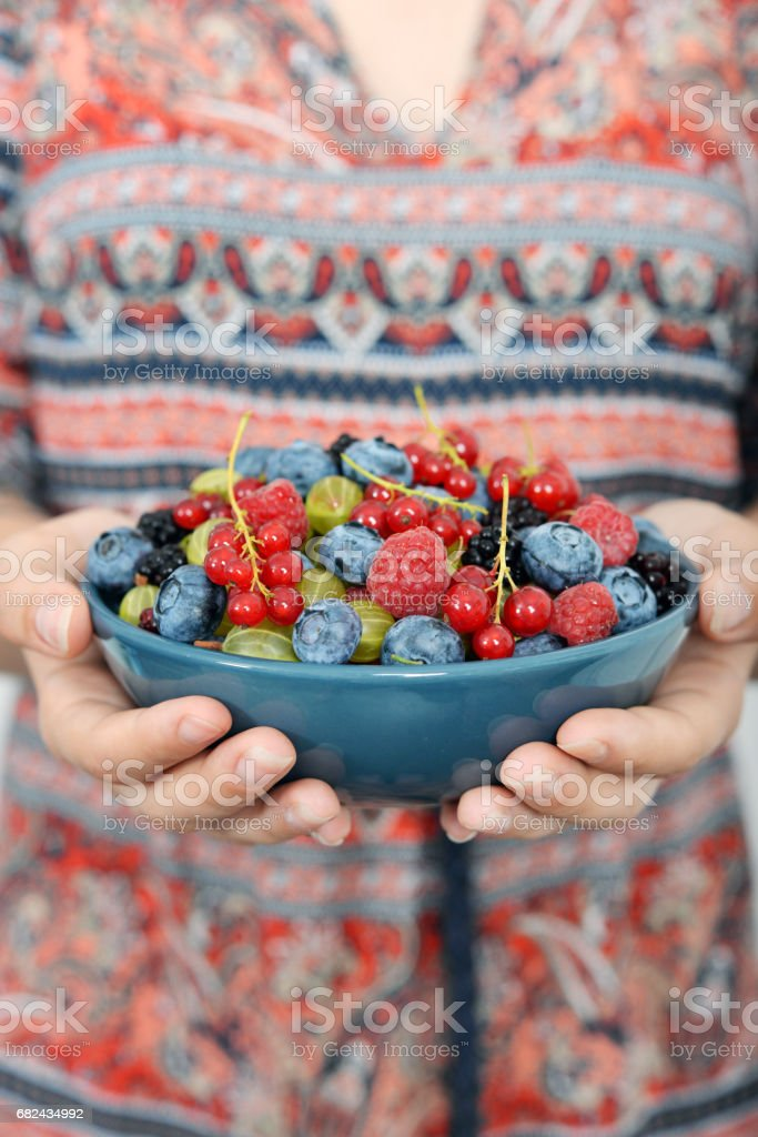 Full bowl of  summer berries royalty-free stock photo