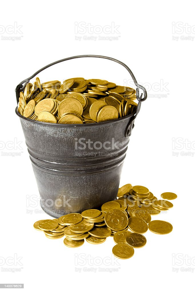 Full bucket of golden coins royalty-free stock photo