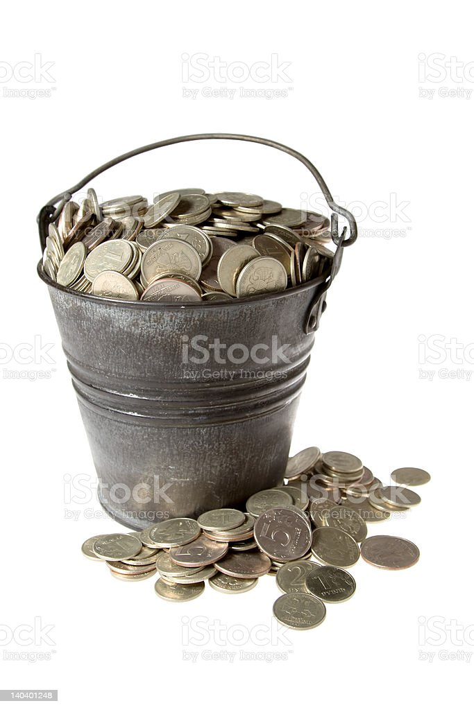 Full bucket of silver coins royalty-free stock photo