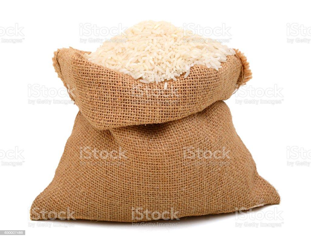 full burlap with white rice - foto de stock