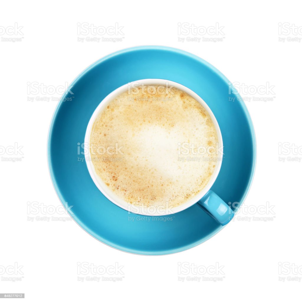 Full cappuccino latte coffee in blue cup isolated stock photo