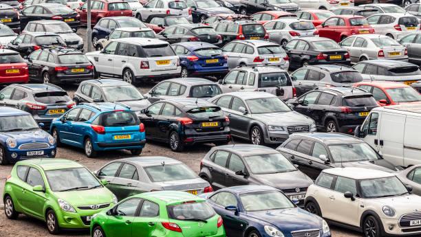 Full carpark at the Ardrossan - Brodick ferry terminal in Ardrossa, North Ayrshire, Scotland.
