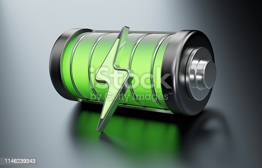 A fully charged battery with energy symbol, glowing in green.