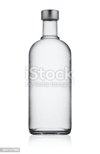 Full closed bottle of vodka isolated on white background