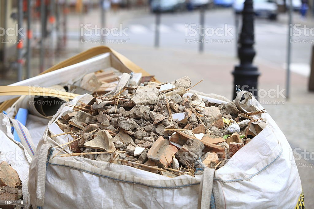 Full construction waste debris bags royalty-free stock photo