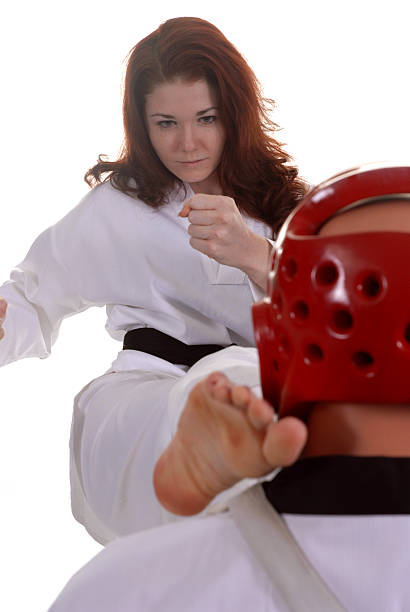 full contact to the head - martial arts gerville stock pictures, royalty-free photos & images
