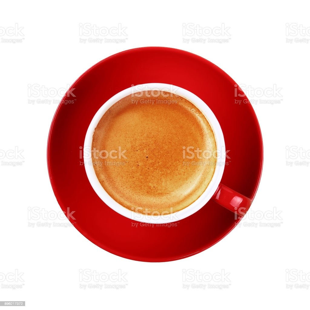 Full cup of espresso coffee in red cup on white stock photo