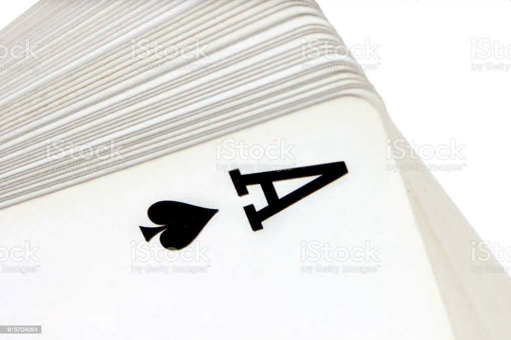Full deck of playing cards with ace of spades on top, isolated on white background – zdjęcie