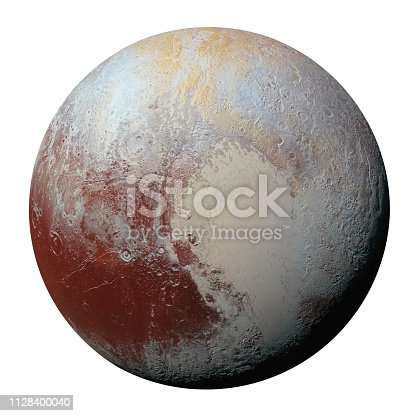 istock Full disk of planet Pluto globe from space isolated on white background. Elements of this image furnished by NASA. 1128400040