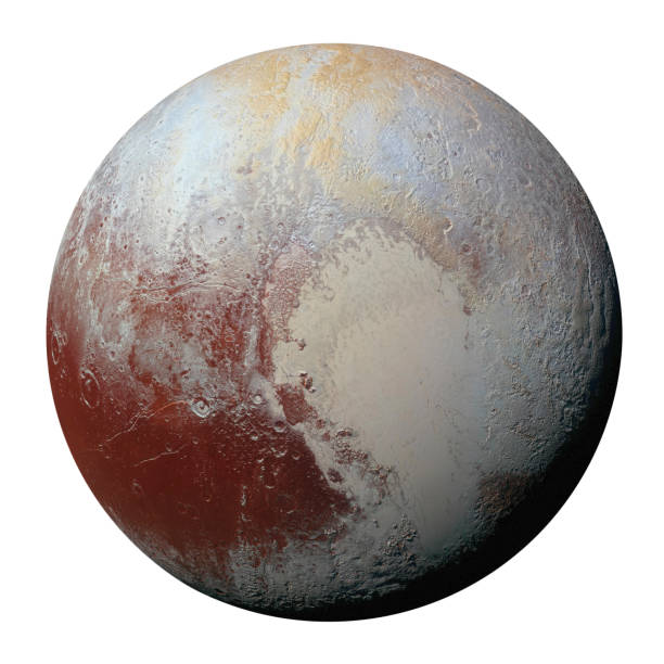 Full disk of planet Pluto globe from space isolated on white background. Elements of this image furnished by NASA. stock photo
