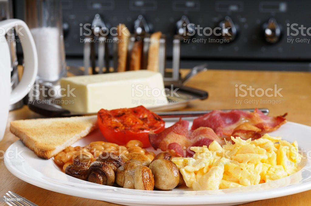 Full English Breakfast Laid Out In The Kitchen stock photo