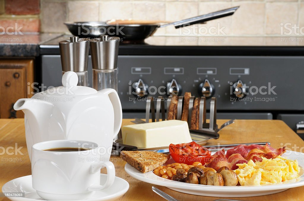 Full English Breakfast Laid Out royalty-free stock photo