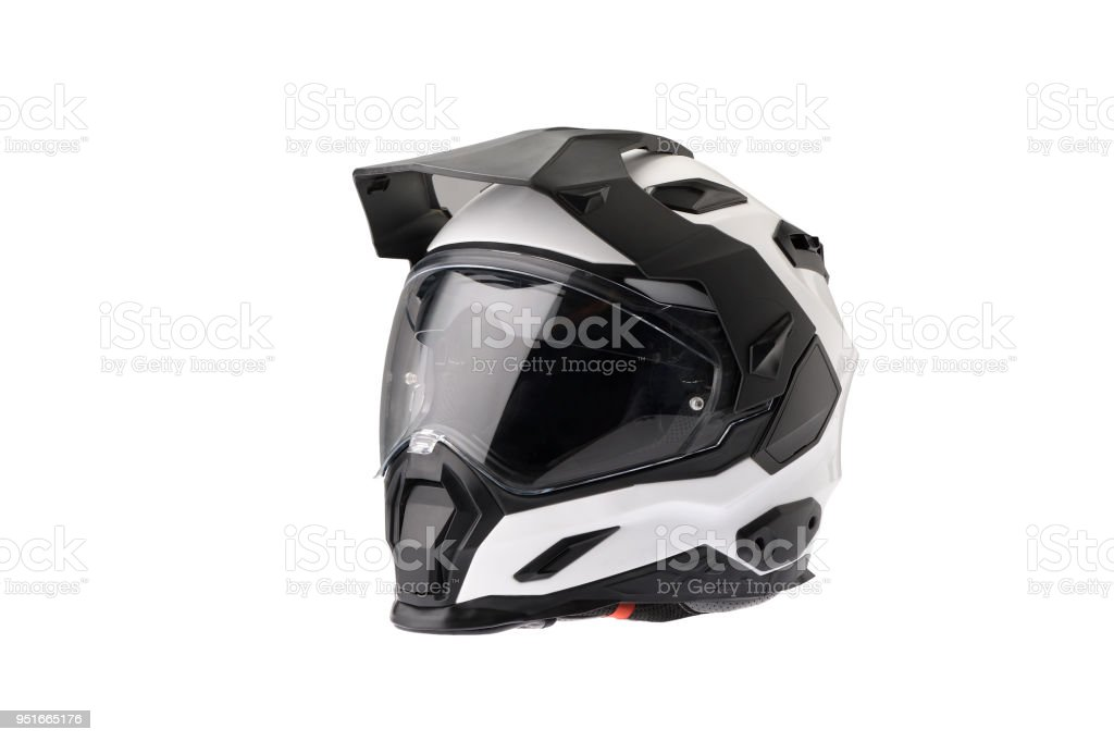 Full face Motorcycle white helmet, close the face shield. royalty-free stock photo