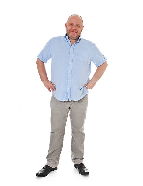 Full figured charismatic adult man stock photo