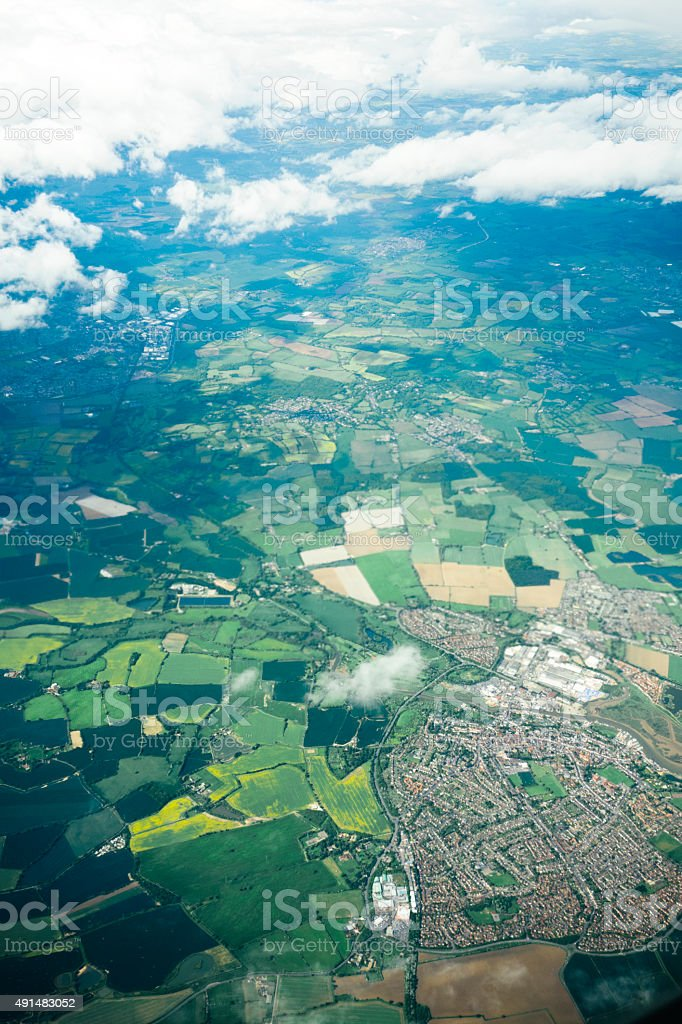 Full frame aerial view of a rural town, Kent, UK stock photo