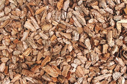 Full frame background made of natural untreated tree bark pieces - wood chip mulch for gardening or natural themes. Copyspace for you text or presentation. Brown wooden texture, biofuel concept