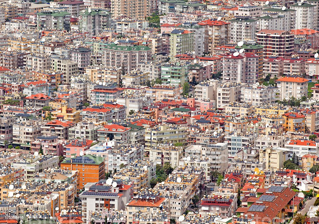 Full Frame Background Of Modern City Buildings stock photo