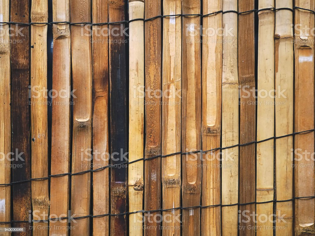 Full Frame Background of Oriental Style Bamboo Fence stock photo