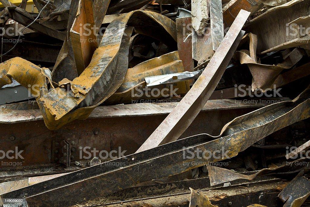 Full Frame Big Pile Rusty Scrap Steel Girders Demolition Site royalty-free stock photo