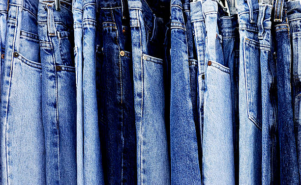 Full Frame Blue Denim Jeans stock photo