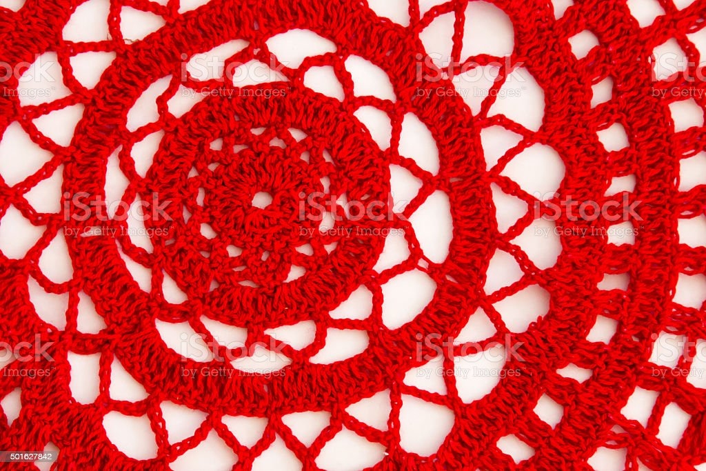 Full frame close up red doily stock photo