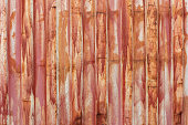 full frame close-up texture and background of old red iso cargo container