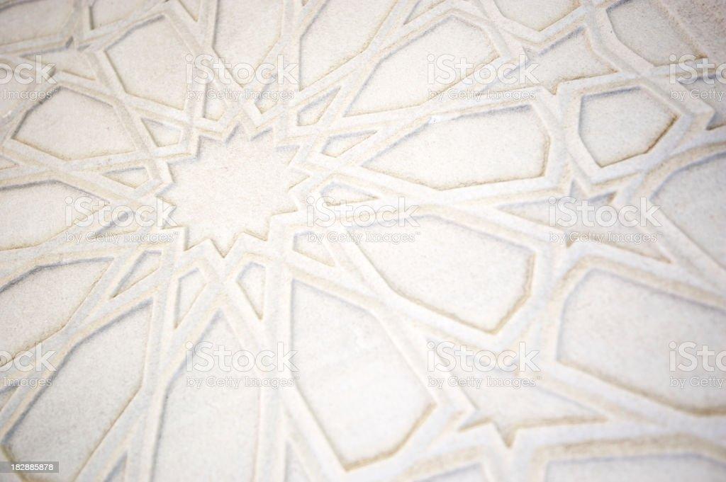 Full Frame Islamic Pattern White Marble Background stock photo