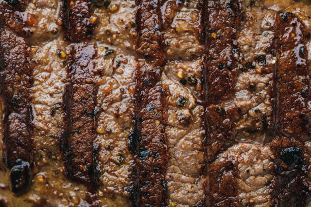 full frame of delicious spicy grilled steak - meat texture imagens e fotografias de stock
