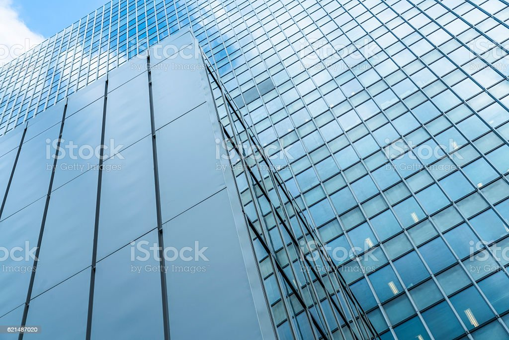 full frame of modern glass steel architecture foto stock royalty-free