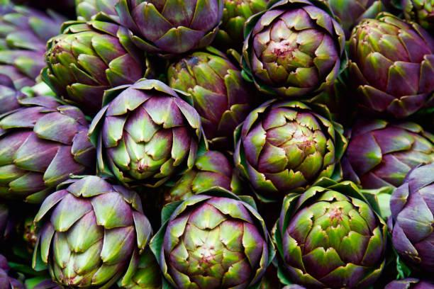 marco completo de alcachofas italianas púrpura - foto de stock