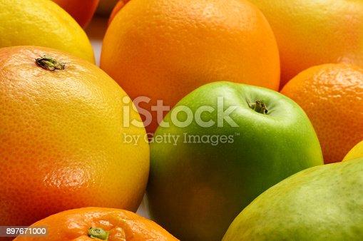 Full Frame Orange, Apple, Grapefruit and Pear