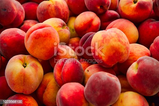 fresh ripe peaches at the farmer's market