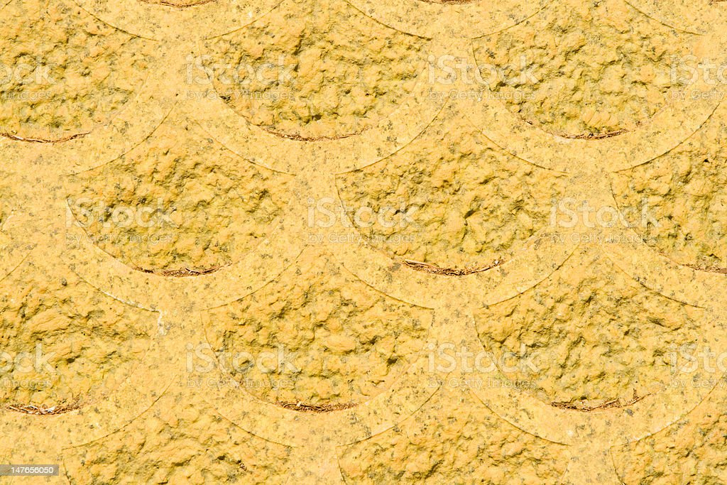 Full Frame Rough Yellow Scallop Scale Shape Abstract Design stock photo