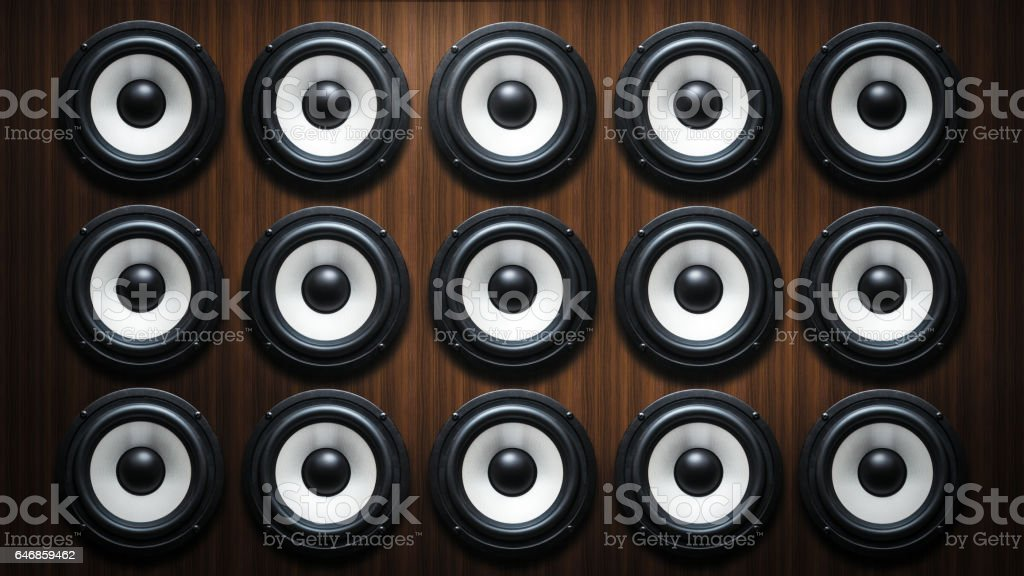 Full Frame Shot Hi Fi Audio System On Brown Wood Background Stock