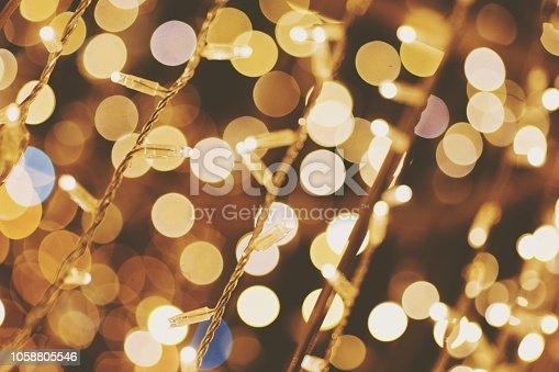 Full Frame Shot Of Illuminated String Lights and bokeh