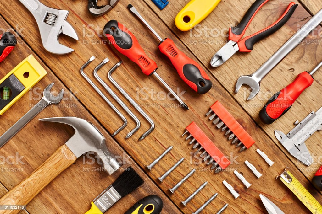 Full frame shot of work tools diagonally arranged on table stock photo
