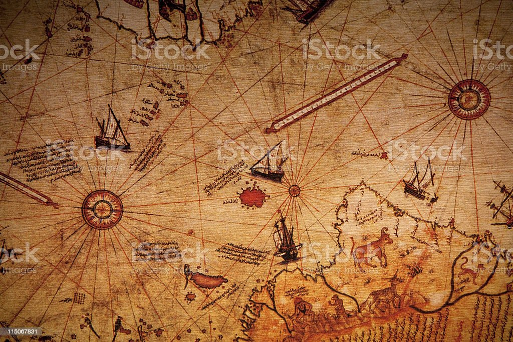 Full Frame View Of Piri Reis World Map stock photo
