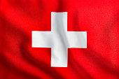 Full Frame Waving Swiss Flag