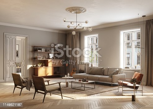 3D Rendering of large and full Furnished living Room. Computer generated image of a luxurious and modern living room interiors.